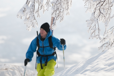 Matt picked up a second wind and put in one of the longest tours of the trip on snowshoes and ski boots.