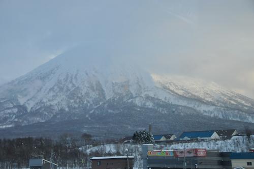 Mt Yotei rising above K-town (Kutchan)