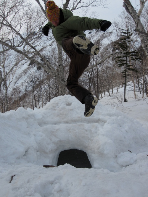 One last fond filmer's karate kick off the snowcave
